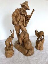 Schnitzfigur Jäger mit Hund,Holzschnitzerei,Skulptur ,Holzfigur