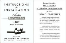 1937 Lincoln Zephyr Columbia 2 Speed Axle Set of 5 Manuals 37 Owner Guide Parts