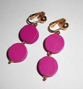 BRIGHT HOT PINK DANGLES  CLIP ON EARRINGS (Hook Options)