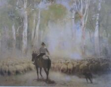 Walter Withers, The Drover, Sheep and Dog, Large Original Art Print. Massive.