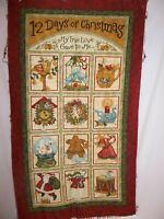 "Fabric panel 12 Days of Christmas nancy halvorsen 23 1/2"" wide 40"" long cotton"