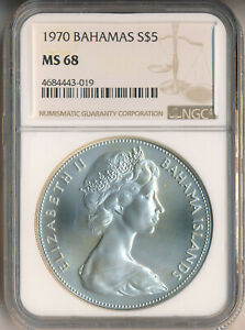 BAHAMAS 1970 $5 SILVER COIN **NGC CERTIFIED MS 68** FREE SHIPPING!!