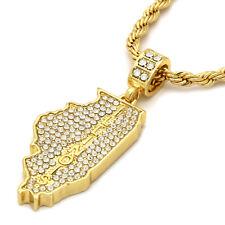 "14k Gold Plated Custom Cz  ILLINOIS  Hip Hop Pendant 24"" Rope Chain"