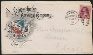 P. Schoenhofen Brewing Company of Chicago blue & red advertising cover 1891 Beer