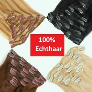Remy Haarverlängerung Clip in Extensions Echthaar Set Echte Haare 8 Tressen Hair