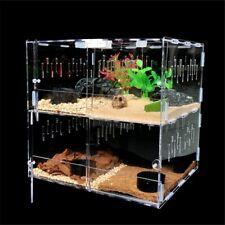 Reptile Acrylic Terrarium Pet Tank 4 Grids Insect Spiders Lizard Breeding Box