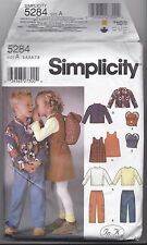 Simplicity 5284 size A 3-8 Childs Shirt Pants Dress Backpack Pattern UNCUT