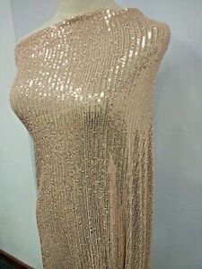 Champagne Sequin Fabric 4 ways Stretch Mesh Prom Gown Lace Fabric 51'' width