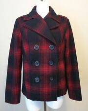 Womens Old Navy Red Navy Blue Plaid Double Breasted Wool Blend Jacket Sz Medium
