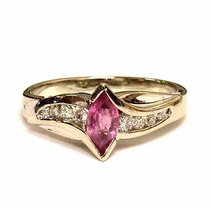 14k white gold .17ct VS G womens diamond pink topaz ring band 3.3g estate ladies
