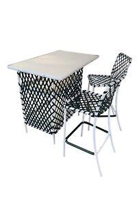 Brown Jordan Vintage Tamiami Bar & 2 Chairs - Hunter Green/White