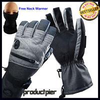 Best Men Ski Snowboard Gloves Waterproof Melange Hand and Neck Warmer Set New