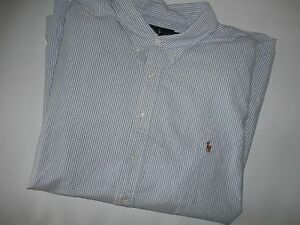 Polo RALPH LAUREN Blue Stripe Pony L/S OXFORD Dress SHIRT Big Mens Sz 4XB NEW