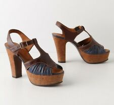 842be94082f ANTHROPOLOGIE Almond   Indigo Heels CHIE MIHARA SHOES PLATFORM T-STRAP  SANDALS 8