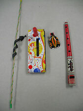 4 1950s-60s CARNIVAL GAME PRIZES & GIVEAWAYS FOR KIDS! TIN FLUTE, NOISE MAKER, +