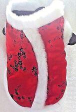 Dog jacket, red Geisha Girl costume w/white faux fur trim, halloween pet costume