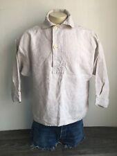 Antique Vintage French Linen Shirt Farmer Work Wear Gusset Smock Pullover Antler