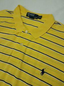 Polo Ralph Lauren Yellow Blue  Stripes Polo Shirt Mens Sz XXL (3127)