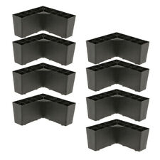 8x Plastic Triangle Sofa Leg Bed Cupboard Furniture Feet Plinth 15x7cm Black