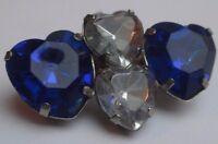 broche rétro bijou vintage couleur argent cœurs imitation diamant et saphir 2673