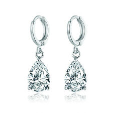 HUCHE Pear Clear Sapphire Diamond White Gold Filled Lady Dangle Wedding Earrings
