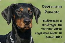 DOBERMANN - A4 Metall Warnschild SCHILD Hundeschild Alu Türschild - DBM 01 T4