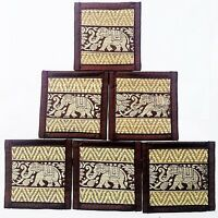 Coasters Bar Mats Beer Table Thai Dining Elephant Silk Reed Coaster Set 6 of Red