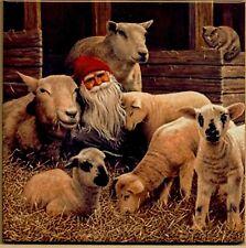 "Swedish Trivet Tile ""In the Barn with Sheep"" Jan Begerlind  6"" x 6"" Cork Back"