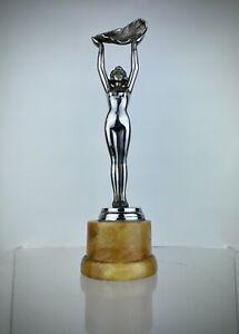 Antique Limousin French Art Deco Nude Lady Statue Chrome Marble Sculpture Figure