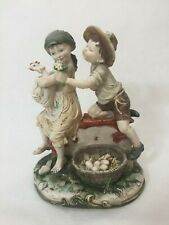 """Giuseppe Armani Figurine Boy Girl """"Courting"""" Couple with Chicken, 9"""" Tall x 7"""" W"""