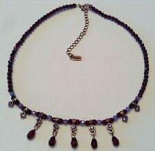 Vintage Signed 1928 Jewelry Necklace Ruby Red & Lavender acrylic beads Crystals