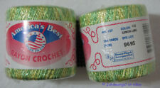 Americas Best Rayon Crochet Thread USA Lemon Lime Knit Tatting Edge 2 Balls New