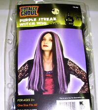 Black Purple Streaked Witch Wig Adult Curly OSFM 3+ NIP