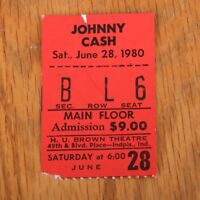 Johnny Cash Concert Ticket Stub June 28 1980 Indianapolis
