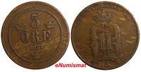 Sweden Oscar II Bronze 1882/1 5 Ore Overdate VF Condition SCARCE KEY DATE KM#736