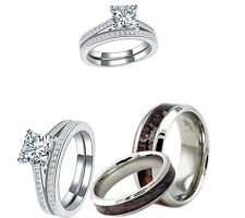 HIS AND HER STAINLESS STEEL CAMO AND 925 SS CZ 4 PCS WEDDING ENGAGEMENT RING SET