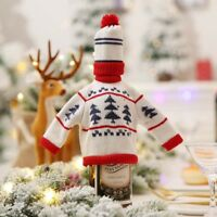 2pcs Christmas Party Table Decor Wine Knit Sweater Wine Bottle Cover G
