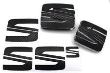 Folie Emblem Seat Logo Set vo+hi Schwarz Carbon für Seat Leon Cupra 5F SC ST FR