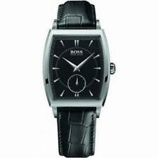 Herren-Armbanduhren mit Leder-Armband in Silber