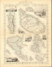 Map, British Possessions In The Mediterranean, by John Tallis & Co. 1850 Map