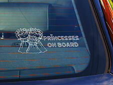 Static Cling Window Car Sign/Decal 3 Princesses on Board 100mm x 250mm