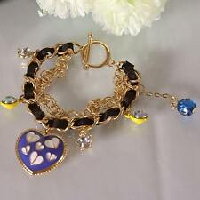B208 BETSEY JOHNSON Exquisite Blue Stripey Hearts with Leopard Heart Bracelet US