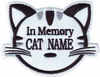 BLACK EMBROIDERED PATCH IN MEMORY CUSTOM CAT FACE NAME