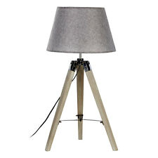 Harper Natural Grey Wood Tripod Table Lamp With Grey Shade