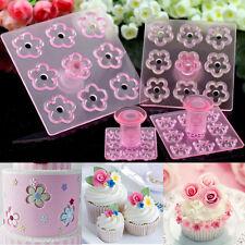 Set of 4 Mini Plum Flower Fondant Cake Gum Paste Plunger Cutter Sugarcraft Stamp