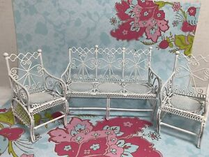 Vintage Dollhouse White Wire Wicker Look Set Sofa & Two Chairs