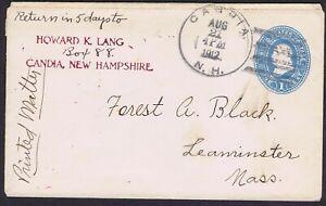 USA 1912 1c BLUE ENV CANCELLED CANDIA N.H. DUPLEX