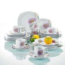 30-pieces Porcelain Dinner Set Floral Cups Saucers Dessert Plates Dinnerware