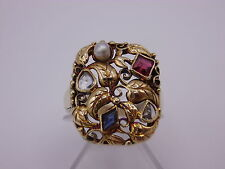 wunderschöner Jugendstil Gemüse Ring 585 Gold  Gr. 57  mit Diamanten / Perle