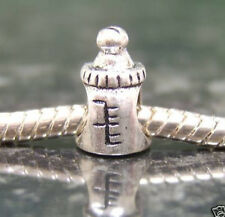 Antique silver plated baby bottle EUROPEAN charm bead